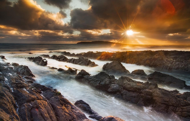 Photo wallpaper sea, the sky, the sun, nature, glare, stones, rocks