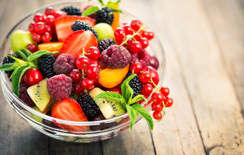 Photo wallpaper berries, raspberry, strawberry, fruit, currants, salad, dessert, fruit salad