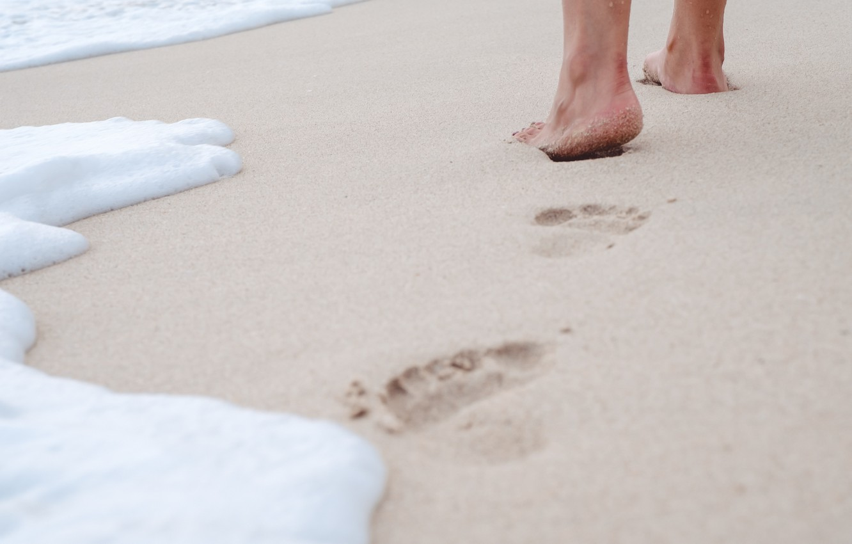Photo wallpaper sand, sea, wave, beach, summer, traces, stay, feet, summer, beach, vacation, sea, sand, wave, footprints