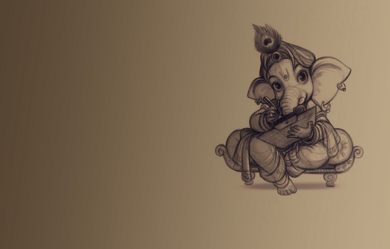 Photo wallpaper background, elephant, teaching, Ganesh