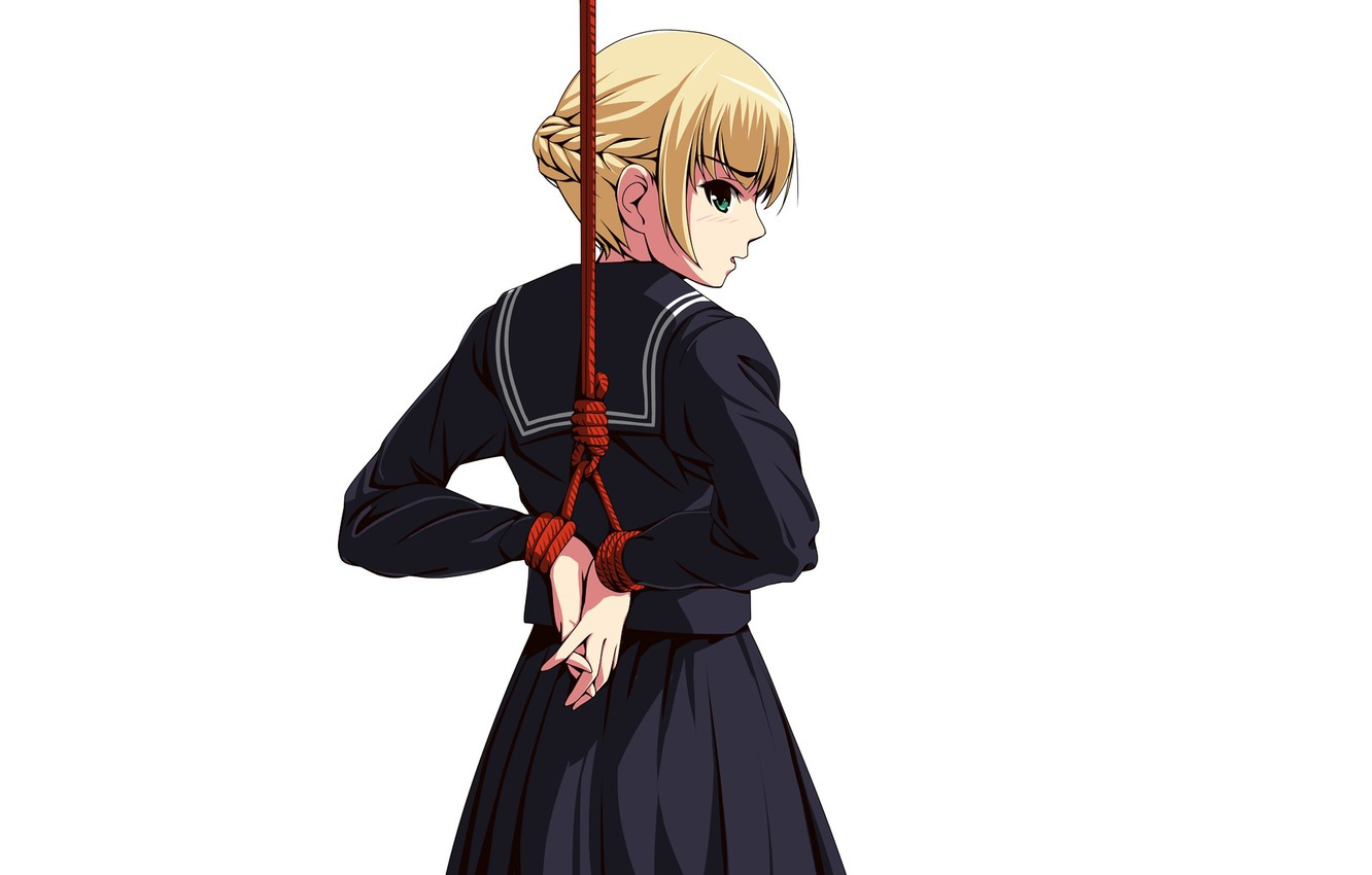 Photo wallpaper the victim, rope, schoolgirl, art, nodes, related, Matsunaga Kouyou