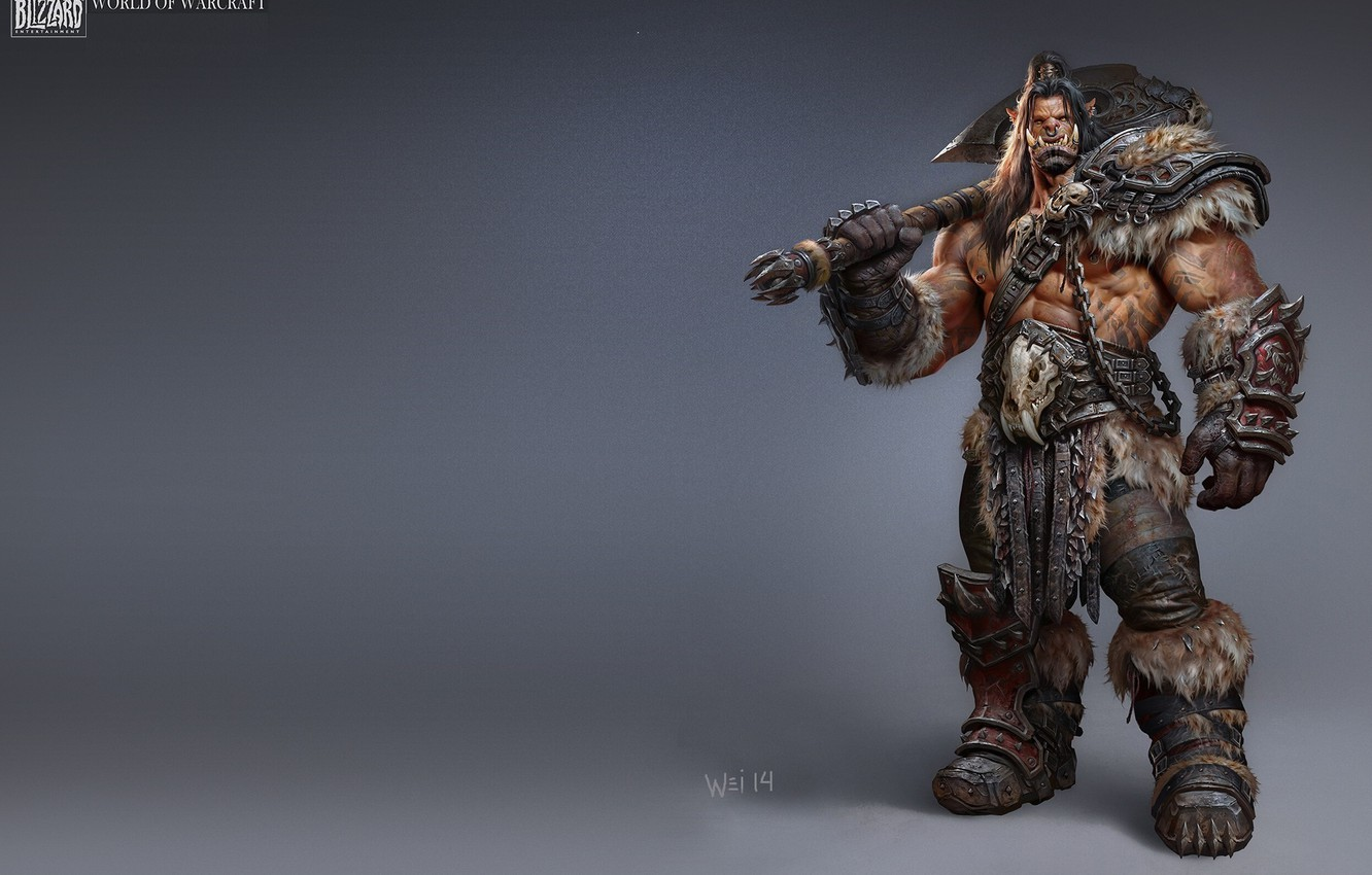 Photo wallpaper weapons, art, Orc, The Art of Warcraft, Wei Wang