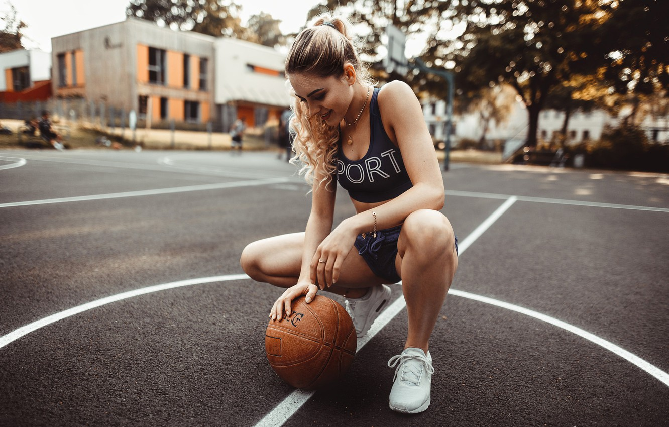 Photo wallpaper girl, pose, shorts, the ball, makeup, Mike, hairstyle, blonde, basketball, sitting, sneakers, photoshoot, Playground, bokeh, …