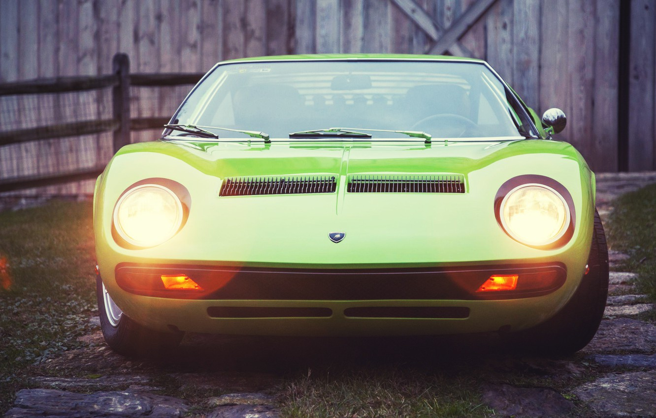Photo wallpaper Auto, Lamborghini, Retro, Green, Machine, Light, Eyelashes, 1969, Lights, Car, Supercar, Miura, Supercar, Lamborghini Miura, …