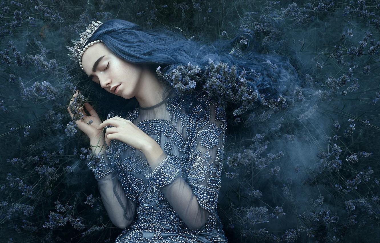 Photo wallpaper girl, style, mood, sleep, crown, dress, Diadema, Princess, the bushes, blue hair, closed eyes, sleeping, …