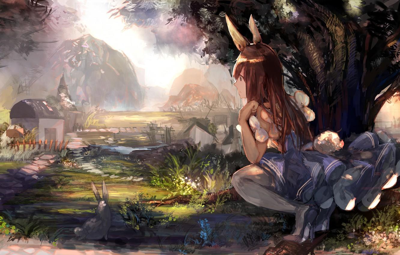 Photo wallpaper girl, nature, anime, rabbit, ears, tagme (artist)