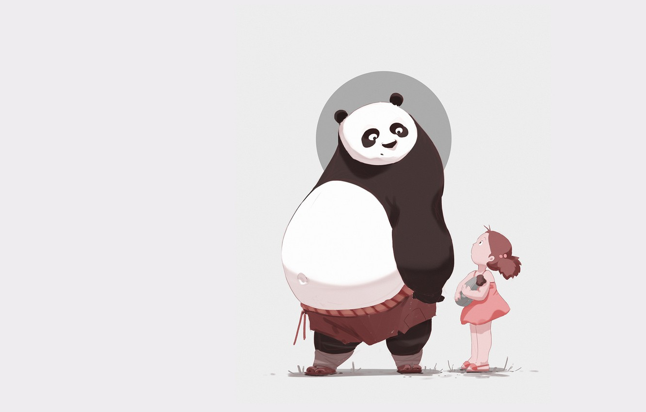 Photo wallpaper minimalism, anime, art, Panda, girl, children's, Atey Ghailan, 313/365 My neighbor Po