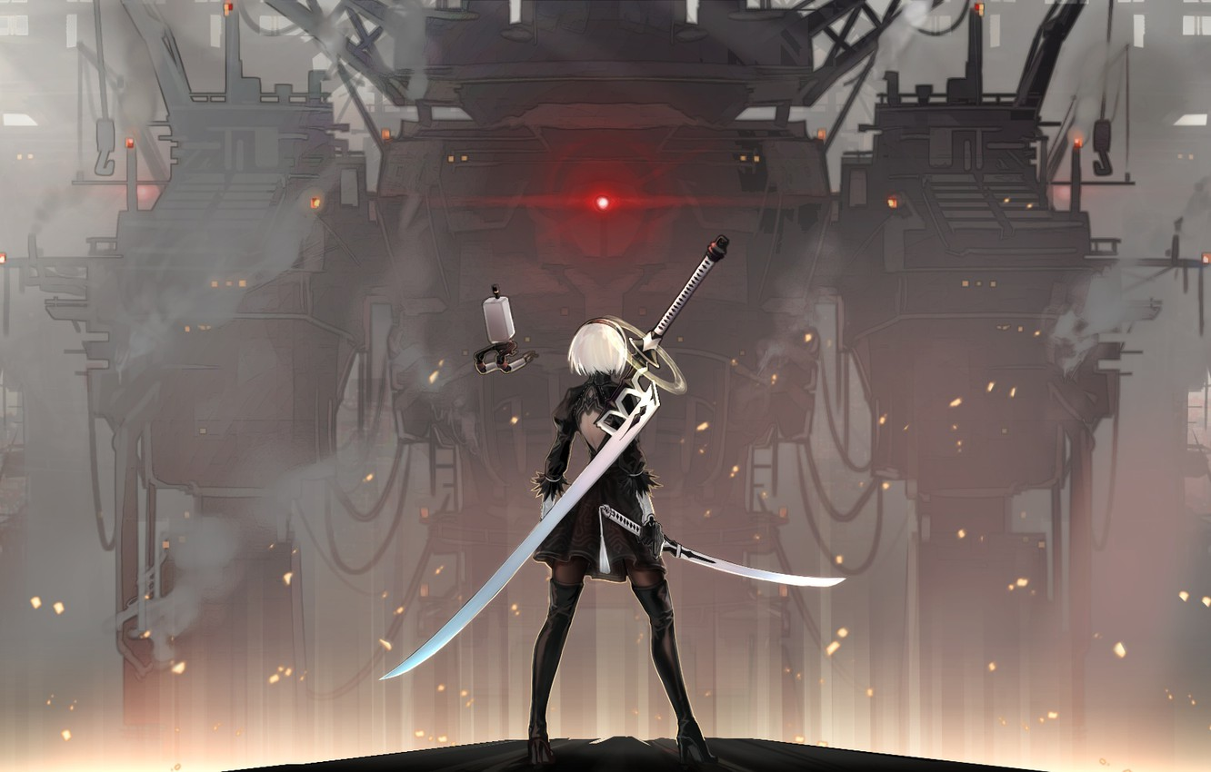 Photo wallpaper fog, katana, blade, sparks, game, cool, super-weapons, combat robot, 2b yorha, nier automata, Glory to …