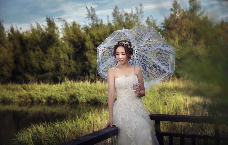 Photo wallpaper Girl, Dress, Umbrella, The bride