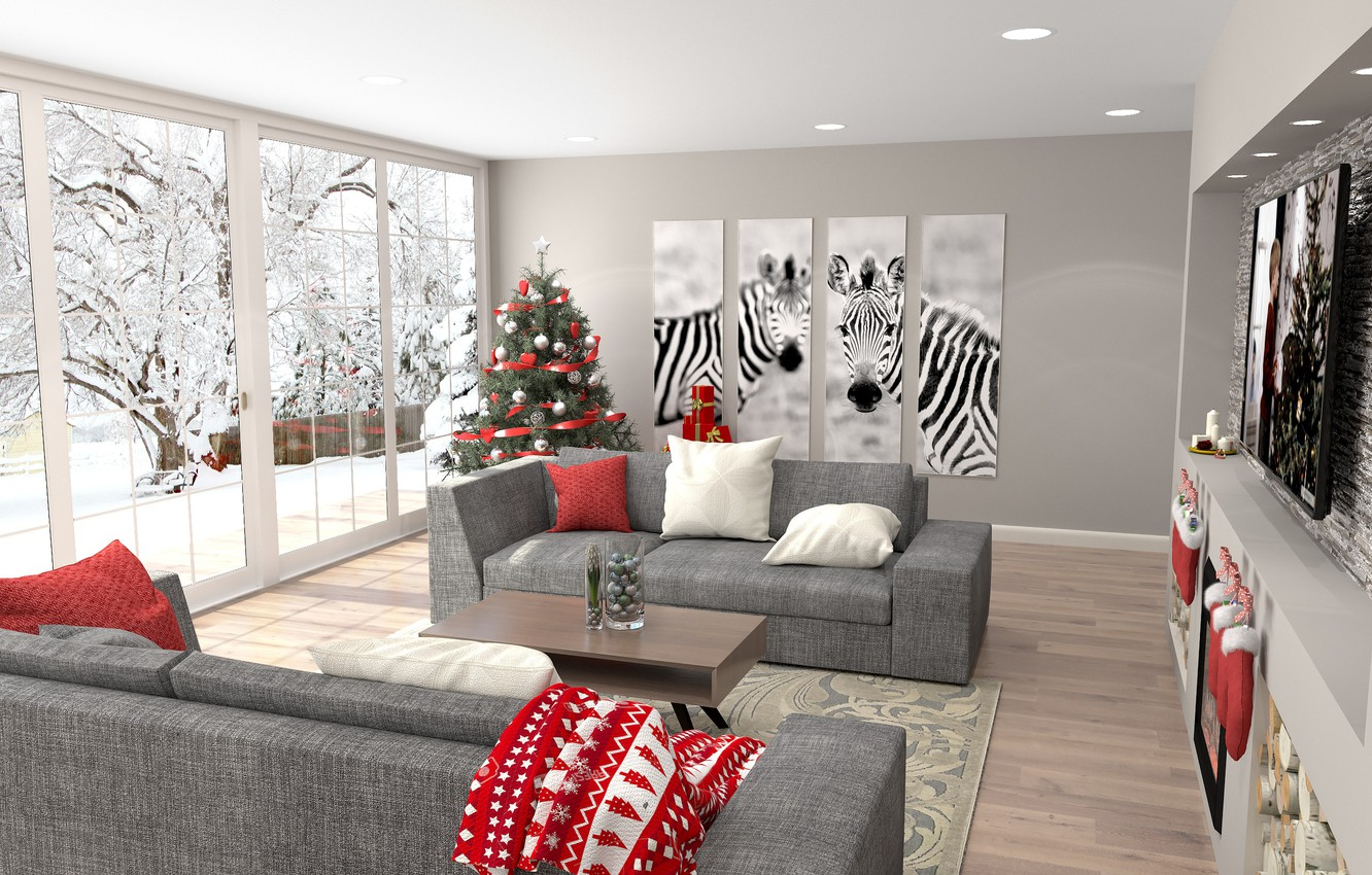 Wallpaper christmas, new year, winter, living room, zebra ...