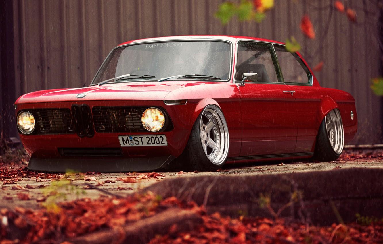 Photo wallpaper Red, Auto, BMW, Machine, Car, Rendering, 02 Series, Stance Works, German, MST2002, M-ST2002, BMW 02 …