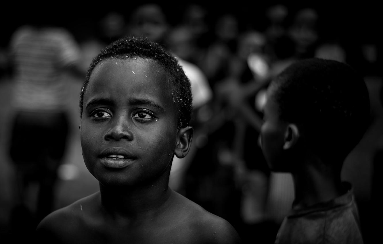 Photo wallpaper black & white, black, art, situation, kids