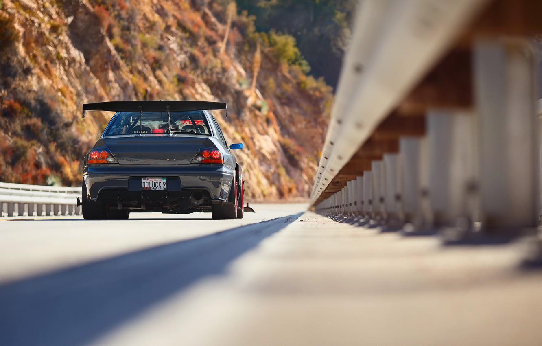 Photo wallpaper bridge, tuning, Mitsubishi, Lancer, Evolution, rear view, Evo, IX MR