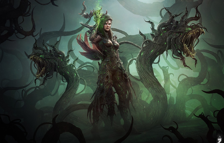 Photo wallpaper fantasy, darkness, woman, monster, MAG, monster