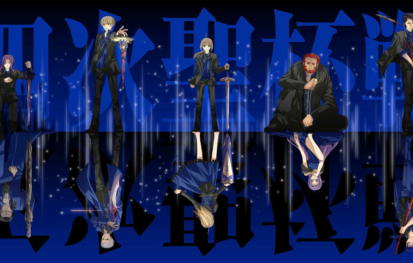 Photo wallpaper game, Fate Stay Night, blue, anime, asian, warrior, japanese, oriental, asiatic, mahou