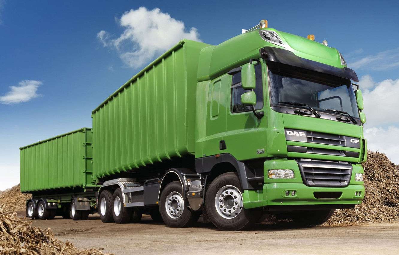 Photo wallpaper truck, green, the trailer, tractor, DAF, DAF, train, agriculture, Euro5, 8x4, DAF CF85.460