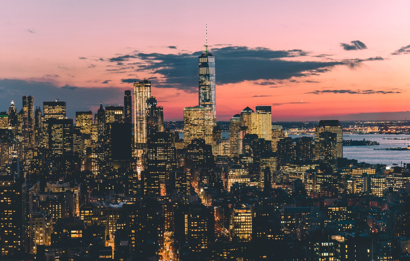 Photo wallpaper the sky, the city, lights, the evening, USA, New York