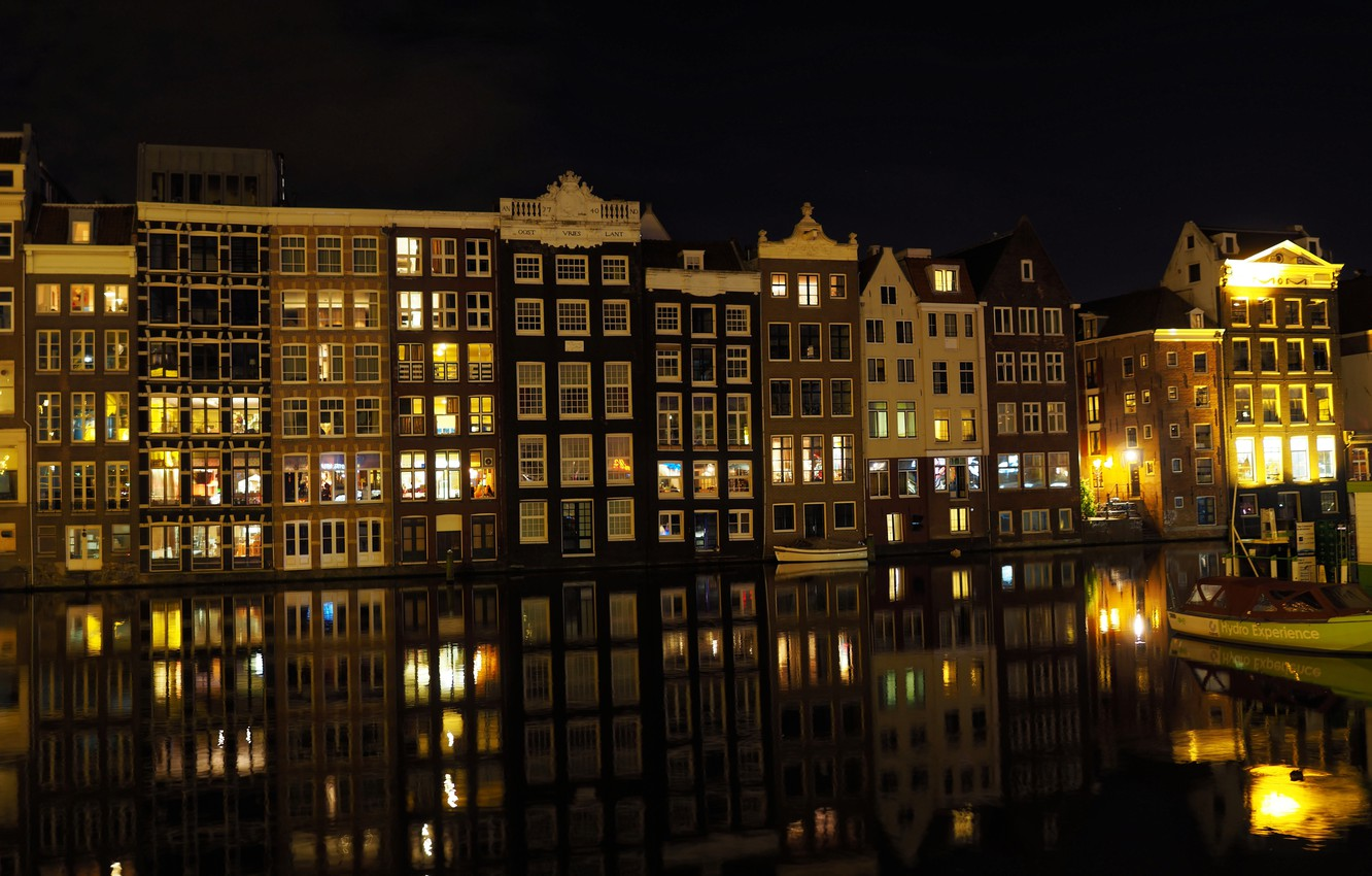 Wallpaper Night, Channel, Amsterdam, Building, Netherlands