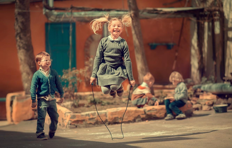 Photo wallpaper children, childhood, boy, girl, jump rope