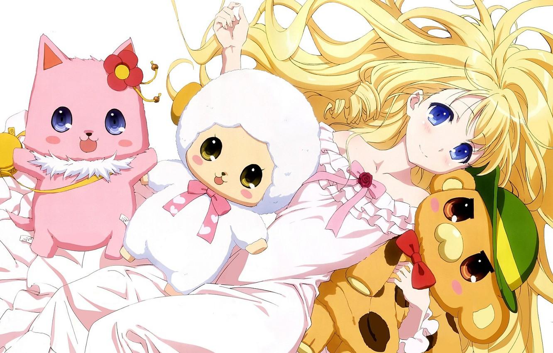 Photo wallpaper girl, bear, nothing, anime, cat, animal, blonde, asian, sheep, manga, japanese, oriental, asiatic, Amagi Brilliant …