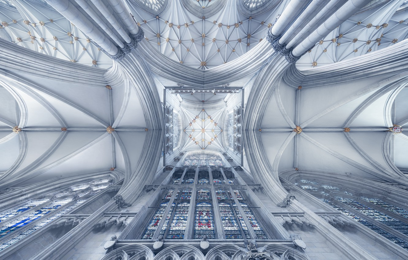 Photo wallpaper England, Cathedral, stained glass, the Central tower