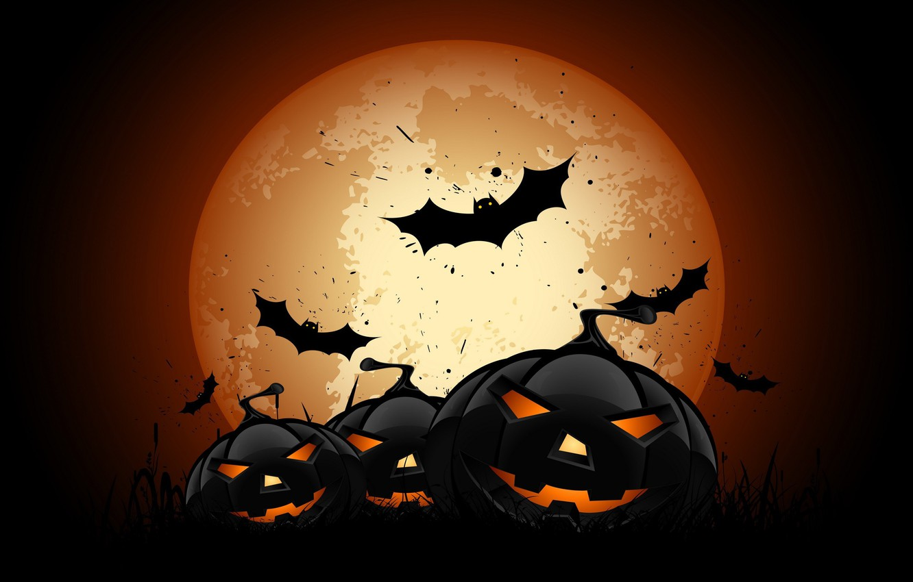 Photo wallpaper vector, Halloween, moon, night, bats, pumpkins, full moon, scary, spooky, vector art, holyday