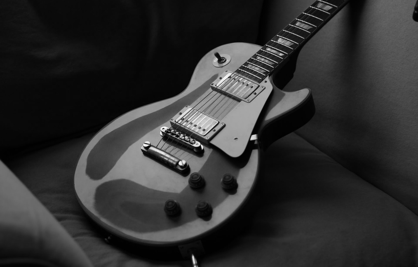 Photo wallpaper black & white, guitar, strings, black and white, guitar, gibson, the paul