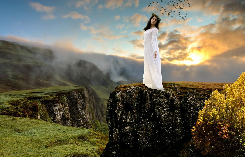 Photo wallpaper girl, landscape, mountains, birds, nature, mood