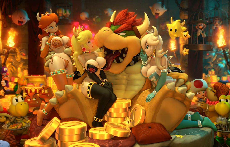Photo wallpaper chest, girl, gold, nintendo, mario, Luigi, super mario, Princess Peach, Rosalina, Bowser, Princess Daisy, mario …