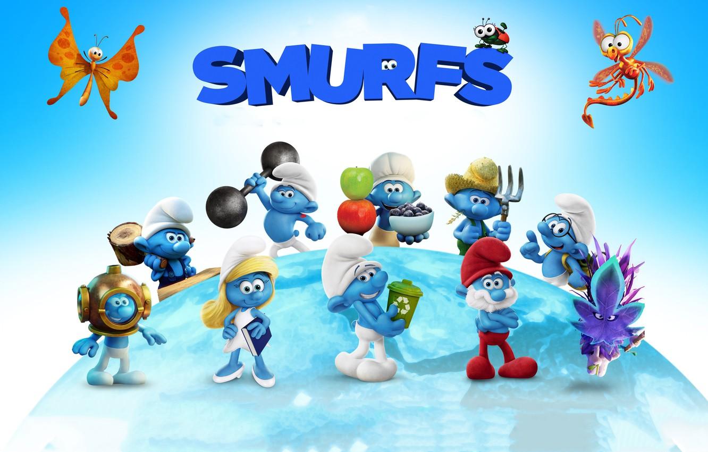 Photo wallpaper cinema, movie, film, animated film, animated movie, Smurfs The Lost Village