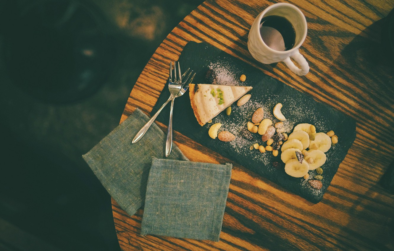 Photo wallpaper table, coffee, pie, bananas, drink, nuts, nuts, fork