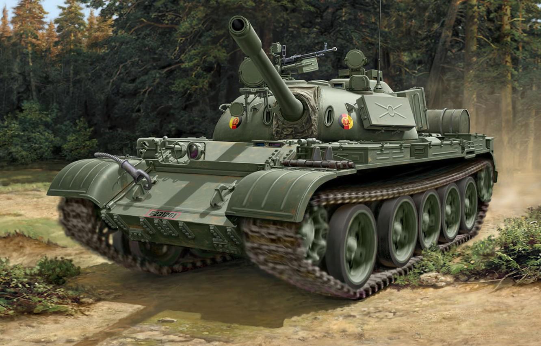 Photo wallpaper figure, GDR, Soviet medium tank, T-55