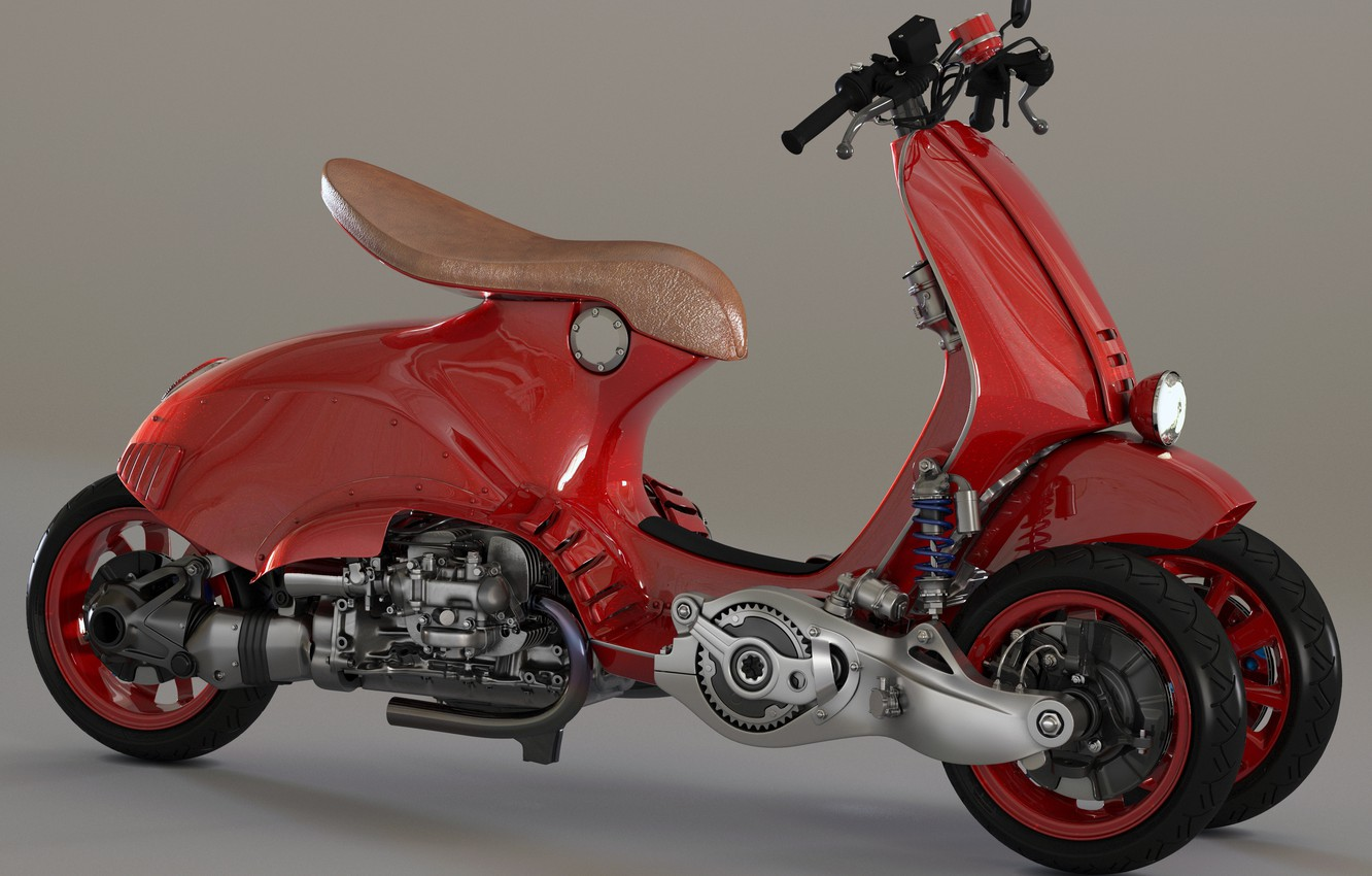 Photo wallpaper design, style, scooter