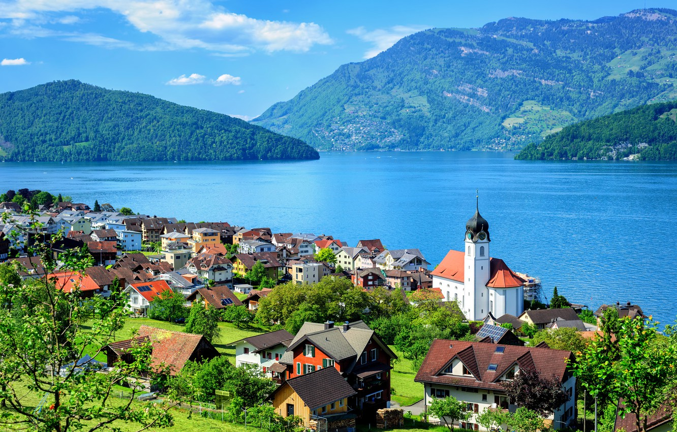 Photo wallpaper greens, the sun, clouds, trees, mountains, lake, Switzerland, houses, Lake Lucerne, Engelberg