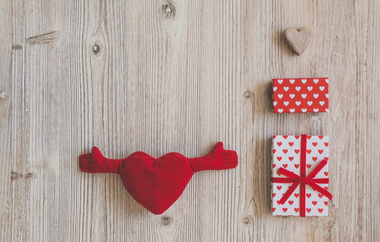 Photo wallpaper love, Love, gifts, hearts, heart, wood, romantic, gift, celebration, Valentines's Day