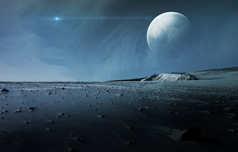 Photo wallpaper moon, planet, stones, sci fi