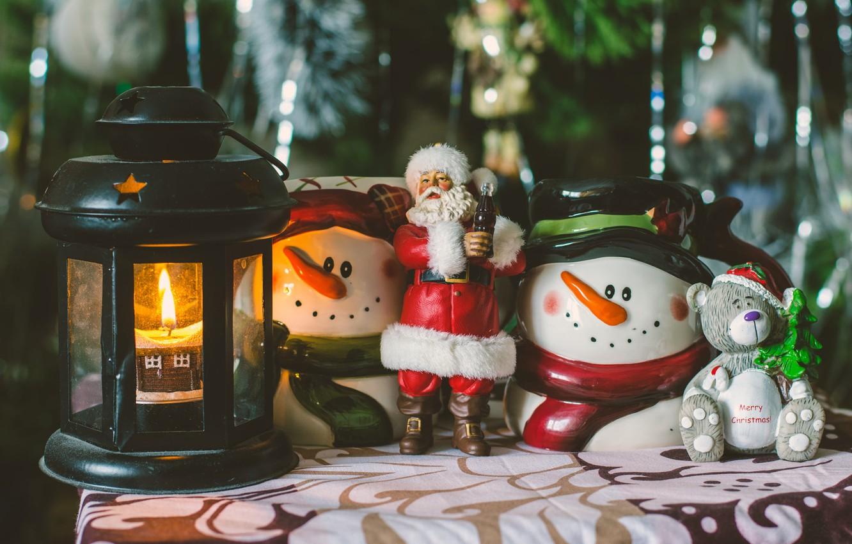 Photo wallpaper rain, holiday, toys, new year, Christmas, candle, bear, lantern, snowmen, tree, Santa Claus