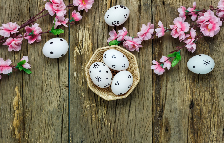 Photo wallpaper flowers, basket, eggs, spring, Easter, wood, pink, blossom, flowers, spring, Easter, eggs, decoration, Happy, tender