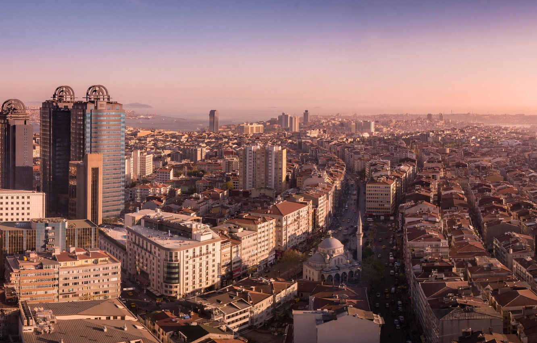 Photo wallpaper city, Istanbul, Turkey, streets, buildings, horizon, vehicles