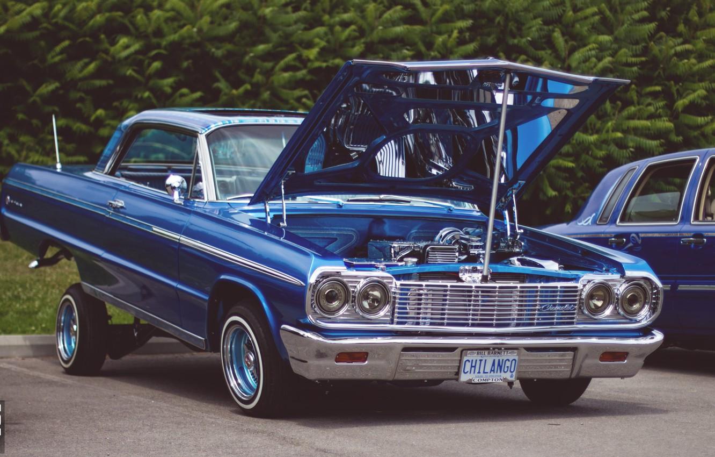 Photo wallpaper car, Chevrolet, lowrider, blue, Impala