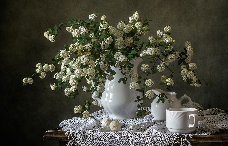 Photo wallpaper branches, bouquet, candy, mug, pitcher, still life, flowers, napkin, Spiraea