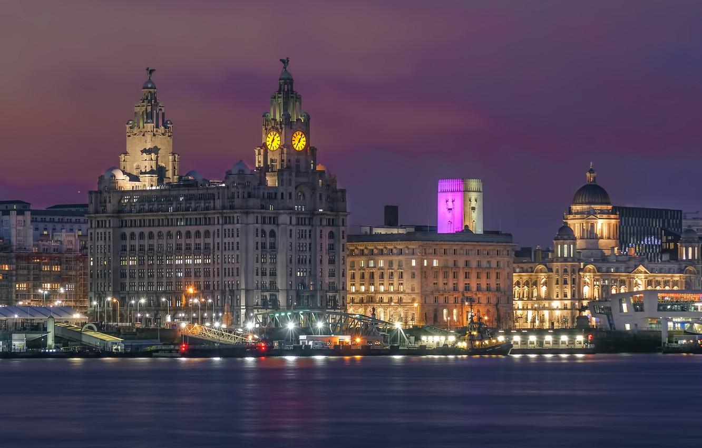 Photo wallpaper night, lights, river, England, home, lights, Liverpool, Liverpool, piers