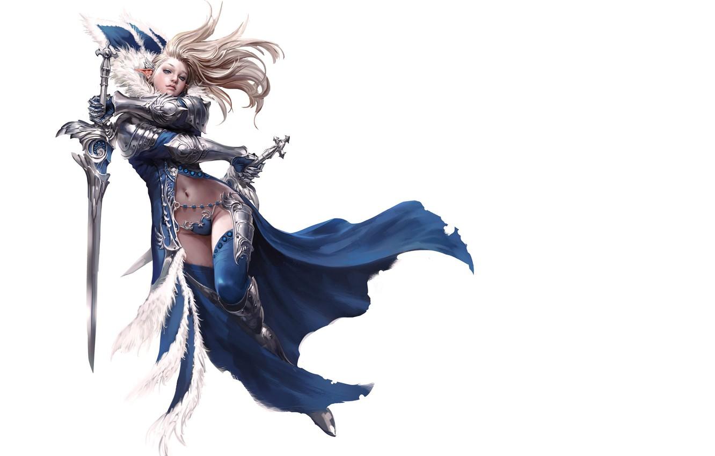 Photo wallpaper look, girl, weapons, background, elf, fantasy, swords