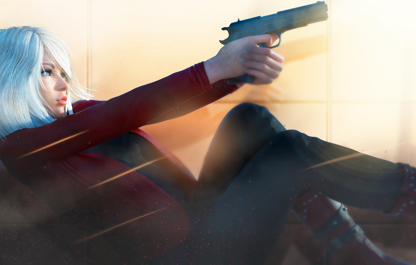 Photo wallpaper girl, pose, rendering, gun, blonde, profile