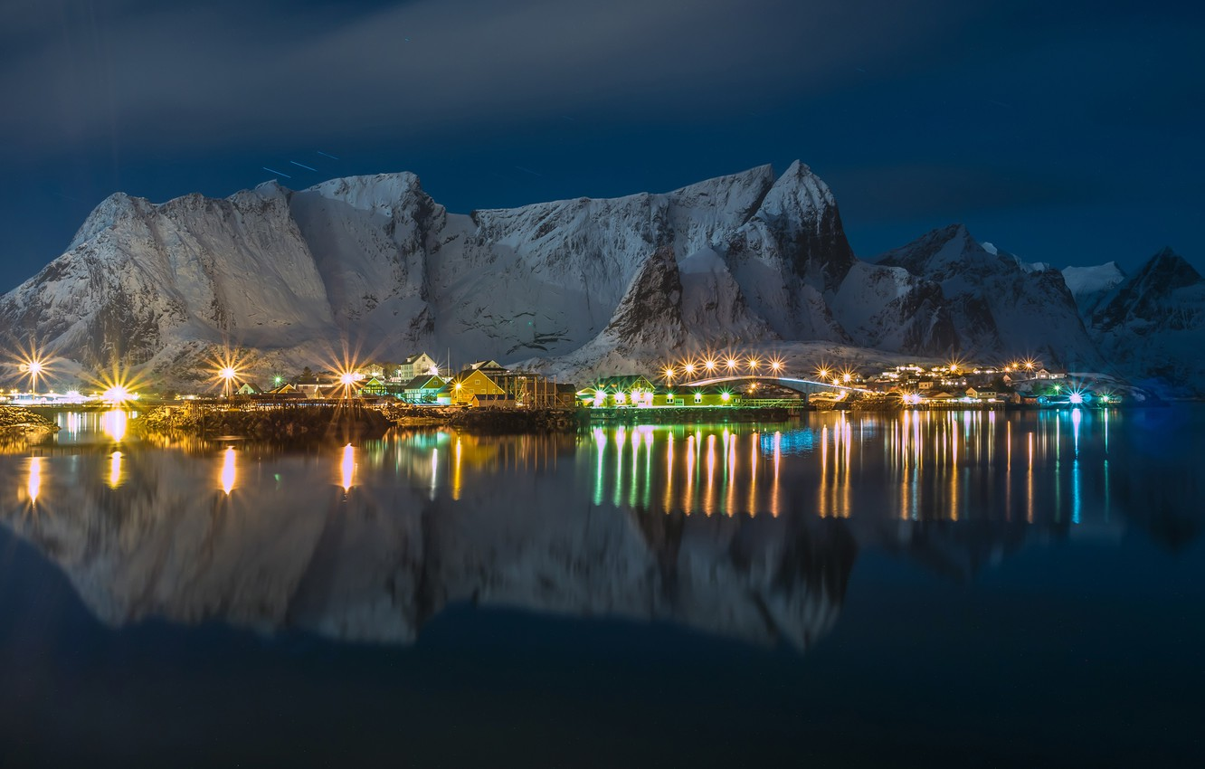 Photo wallpaper winter, the sky, water, snow, mountains, night, lights, reflection, rocks, home, Norway, lights, Bay, Lofoten