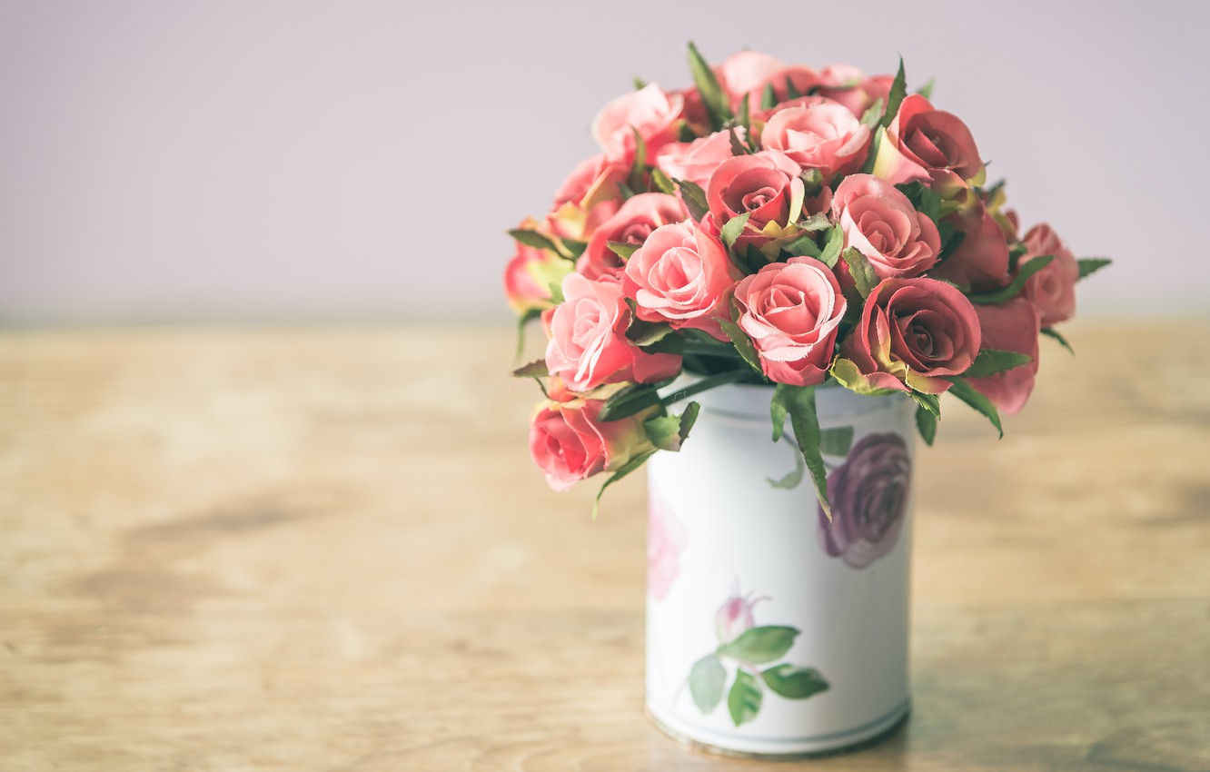 Photo wallpaper flowers, roses, bouquet, petals, vase, pink, rosebud