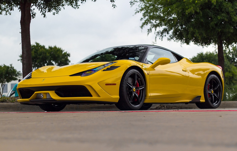 Photo wallpaper Ferrari, 458, Black, Yellow, Speciale, Wheels