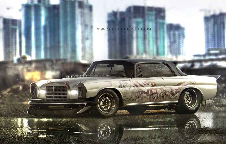 Photo wallpaper Mercedes-Benz, Auto, Figure, Machine, Background, Mercedes, Car, Car, Art, Art, Rendering, W115, W114, Yasid Design, …