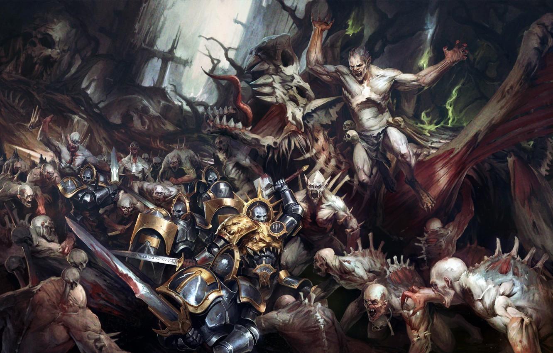 Photo wallpaper battle, warriors, freaks, Warhammer 40 000, Flesh-eaters vs Anvils of the Heldenhammer