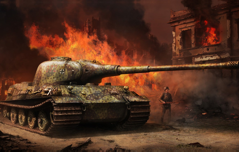 Photo wallpaper war, art, tank, Tank, Tiger II, Vitalii Smyk, Panzerkampfwagen VI Ausf.B, King tiger II
